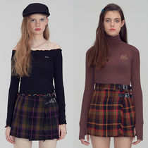 SCULPTOR Short Other Check Patterns Pleated Skirts Street Style