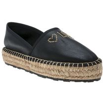 Love Moschino Studded Plain Leather Slip-On Shoes