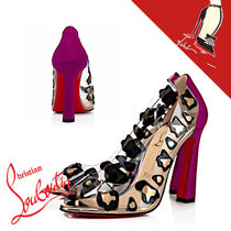 Christian Louboutin Leopard Patterns Open Toe Other Animal Patterns Block Heels