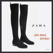 ZARA Plain Toe Rubber Sole Casual Style Plain Block Heels