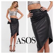 ASOS Flared Skirts Faux Fur Plain Medium Midi Skirts