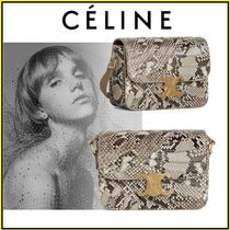 CELINE Triomphe Party Style Python Elegant Style Crossbody Shoulder Bags