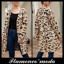 Leopard Patterns Casual Style Long Sleeves Long Cardigans