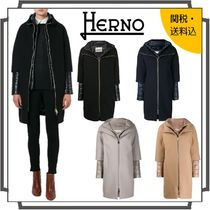 HERNO Stand Collar Coats Casual Style Wool Nylon Blended Fabrics