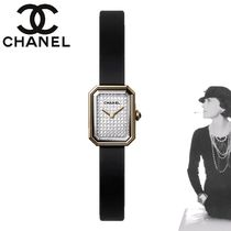 CHANEL Square Party Style 18K Gold With Jewels Analog Watches