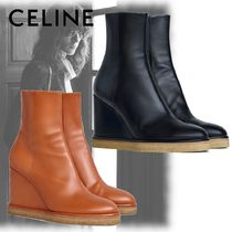 CELINE Round Toe Leather Chunky Heels Wedge Boots