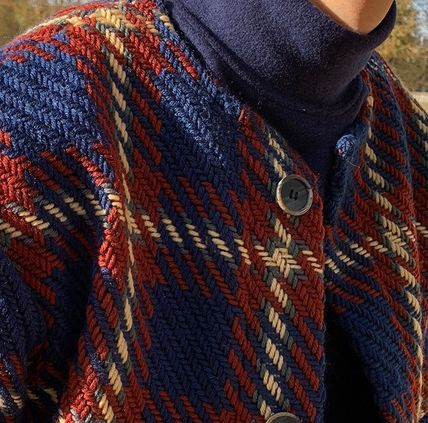 ASCLO Cardigans Other Check Patterns Street Style Oversized Cardigans 2