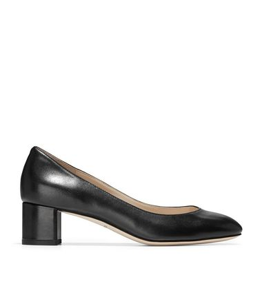 Cole Haan Round Toe Plain Leather Office Style Chunky Heels