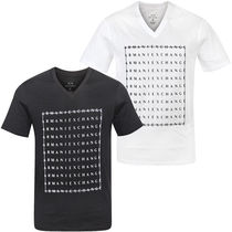 A/X Armani Exchange V-Neck Plain Cotton Short Sleeves V-Neck T-Shirts