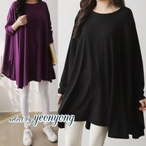 Crew Neck Long Sleeves Plain Long Tunics