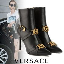 VERSACE Plain Leather Pin Heels Ankle & Booties Boots
