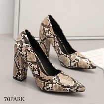 Casual Style Faux Fur Block Heels Party Style Office Style