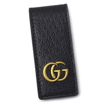 GUCCI Unisex Leather Logo Money Clip Wallets & Card Holders