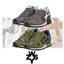 W6YZ Blended Fabrics Street Style Plain Leather Sneakers