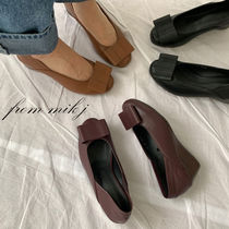 Round Toe Casual Style Street Style Plain Leather