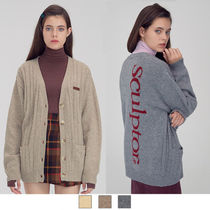 SCULPTOR Cable Knit Casual Style Wool Street Style Long Sleeves Plain