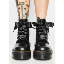 Dr Martens MOLLY Round Toe Rubber Sole Lace-up Casual Style Blended Fabrics