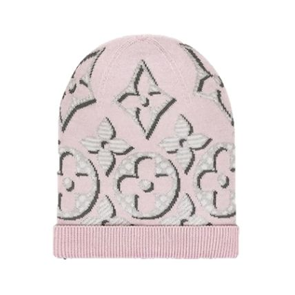 Louis Vuitton 2019-20AW GIANT POP MONOGRAM HAT pink noir knit hats