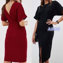 ASOS Tight Plain Medium Short Sleeves Office Style Elegant Style
