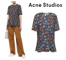 Acne Flower Patterns Short Sleeves Shirts & Blouses