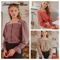 LETTER FROM MOON Gingham Tartan Casual Style Long Sleeves Cotton Medium Lace