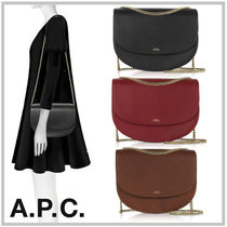 A.P.C. 2WAY Plain Leather Elegant Style Shoulder Bags