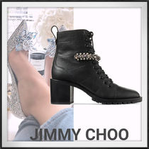 Jimmy Choo Lace-up Leather Elegant Style Lace-up Boots
