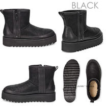 UGG Australia CLASSIC REBEL BIKER Plain Toe Casual Style Sheepskin Plain Ankle & Booties Boots