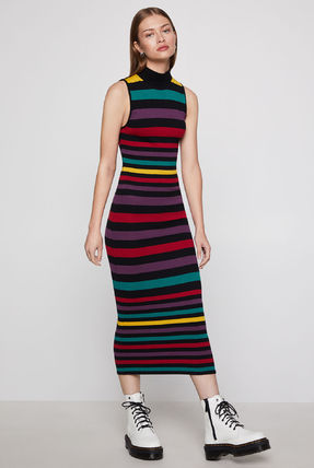Stripes Sleeveless Long Party Style Dresses