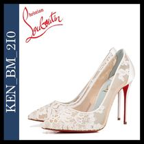 Christian Louboutin Flower Patterns Blended Fabrics Plain Pin Heels Party Style