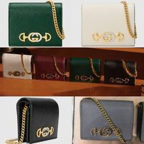 GUCCI Unisex Plain Leather Bold Card Holders
