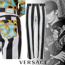 VERSACE Stripes Street Style Cotton Jeans & Denim