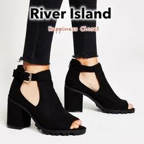 River Island Open Toe Suede Plain Block Heels Ankle & Booties Boots