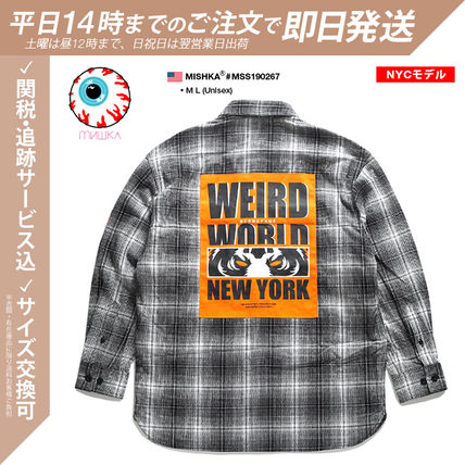 Button-down Skull Other Plaid Patterns Unisex Street Style
