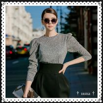 DINT Puffed Sleeves Party Style Elegant Style Sweaters