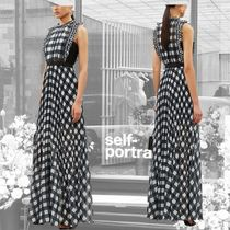 SELF PORTRAIT Gingham Maxi Sleeveless Long Party Style High-Neck