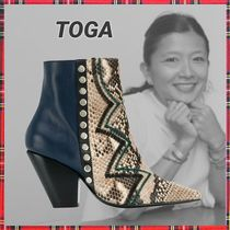 TOGA Block Heels Python Elegant Style Ankle & Booties Boots