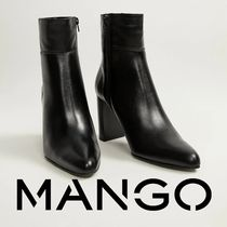 MANGO Plain Leather High Heel Boots