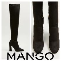 MANGO Plain Block Heels High Heel Boots