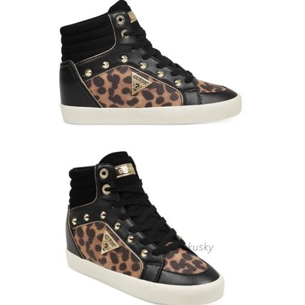 Leopard Patterns Lace-up Casual Style Faux Fur Street Style