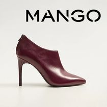 MANGO Casual Style Plain Leather Pin Heels High Heel Boots