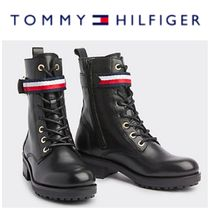 Tommy Hilfiger Casual Style Street Style Plain Leather Chunky Heels