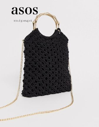 Casual Style Blended Fabrics 2WAY Chain Plain Clutches