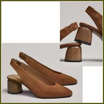 Massimo Dutti Casual Style Suede Plain Block Heels Pumps & Mules