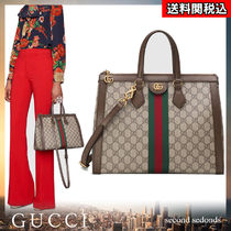 GUCCI Ophidia Monogram Canvas Blended Fabrics A4 2WAY Elegant Style