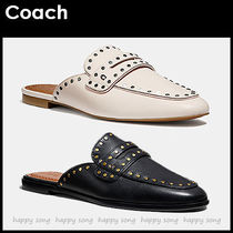Coach Round Toe Rubber Sole Casual Style Studded Plain Leather