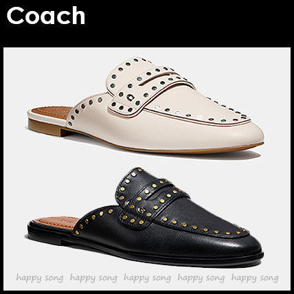 Round Toe Rubber Sole Casual Style Studded Plain Leather