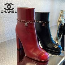 CHANEL Blended Fabrics Chain Plain Leather Ankle & Booties Boots
