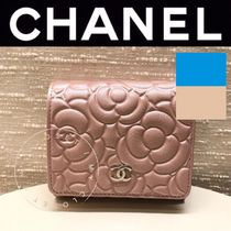 CHANEL ICON Flower Patterns Blended Fabrics Street Style Leather