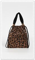 lizzie fortunato Leopard Patterns Blended Fabrics Purses Elegant Style